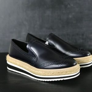 NEW Zara Blue Slip On Platform Espadrille Loafers